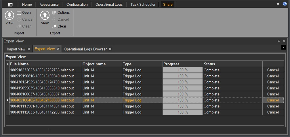 Trigger Log Files Import and Export